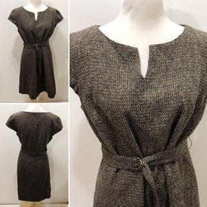 TALBOTS Size 12P Dress Navy Blue Beige Wool Tweed